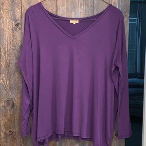 Purple Long Sleeve V-Neck Piko